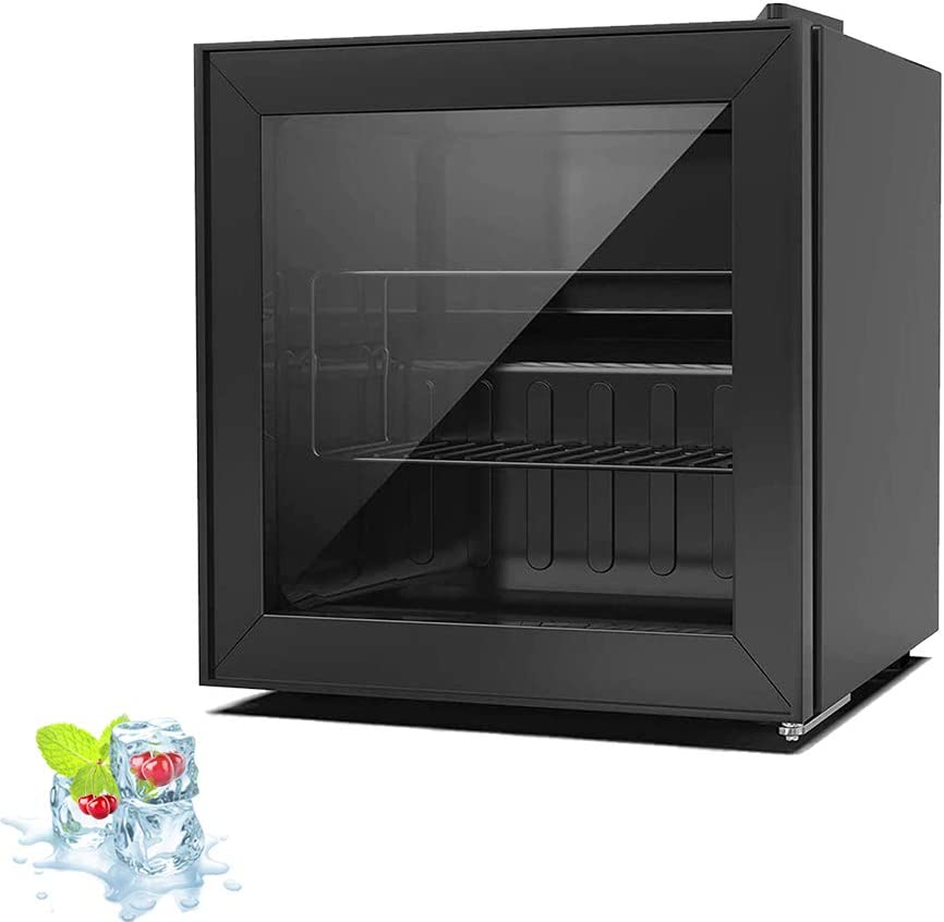 Kismile 1.1 Cu.ft Upright Freezer with Adjustable Thermostat Control for Ice Cream/Breast Milk/Sea Food,Mini Compact Freezer with Three-layers Glass Door for Home/Kitchen/Office