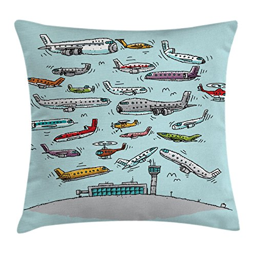 Airplane Decor Throw Pillow Cushion Cover by Ambesonne, Planes Fying in Air Aviation Love Airport Helicopters and Jets Cartoon , Decorative Square Accent Pillow Case, 18 X18 Inches, (Party Art Throw Pillow)