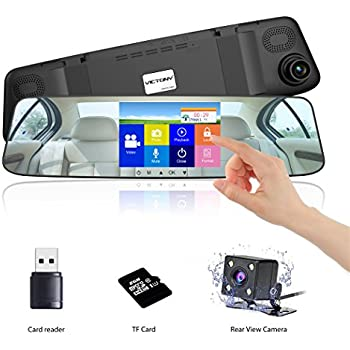 VICTONY 4.3 Inch Touch Screen Full HD 1080P Dual Lens Car Camera,170° Wide Angle Front Lens and Rearview Backup Camera with G-Sensor, Loop Recording,Night ...