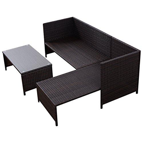 Tangkula 3 PCS Outdoor Rattan Furniture Sofa Set Lounge Chaise Cushioned Patio Garden by Tangkula (Image #4)