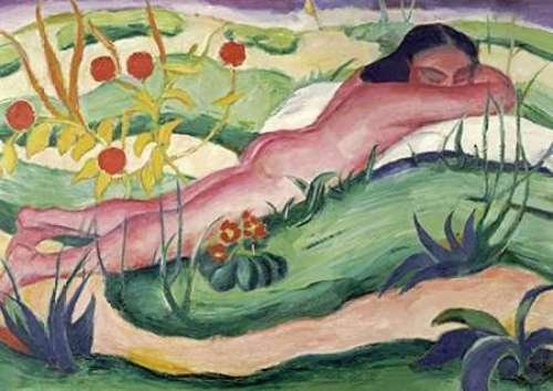 """Nude Lying In The Flowers by Franz Marc - 21"""" x 30"""" Giclee Canvas Art Print"""