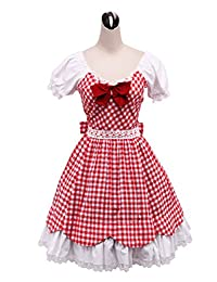 antaina Red Plaid Cotton Ruffle Bow Lace Puff Victorian Lolita Cosplay Dress