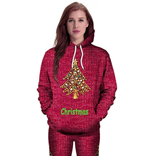 Clearance ! GREFER New Women Christmas Casual Hoodies Print Pullover Hoodie Sweatshirt Pullover Tops (M, Hot Pink) (Uk Christmas Jumpers H&m)