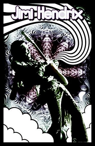 Jimi Hendrix-Guitar Solo, Music Blacklight Poster Print, 23 by 35-Inch
