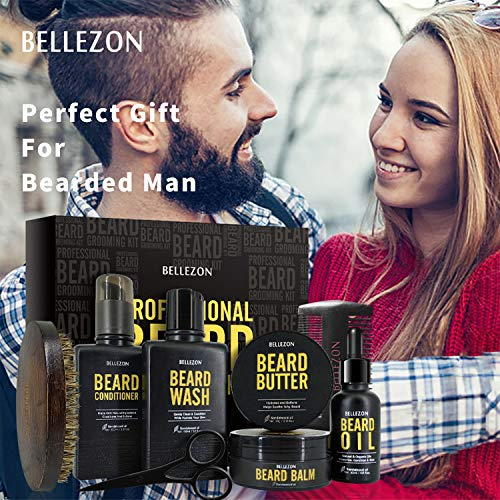 Upgraded Beard Kit for Men Grooming & Care W/Beard Conditioner,Beard Butter,Beard Balm,Beard Brush,Beard Oil,Beard Shampoo,Beard Comb,Beard Scissors,Storage Box,Perfect Gifts for Man Dad Boyfriend