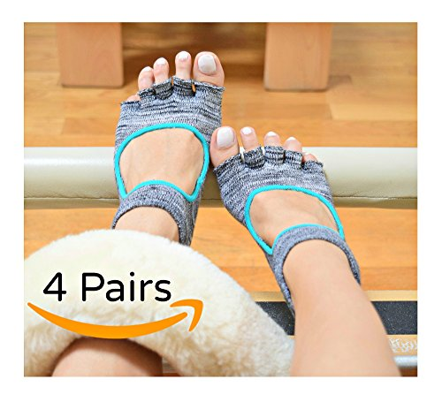 Toes & Soles Pilates Yoga Barre Socks 4 Pairs