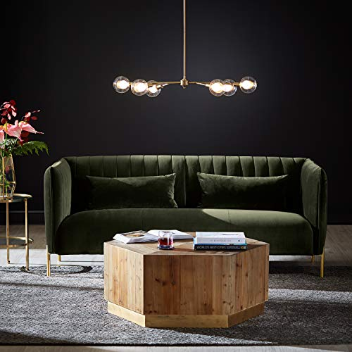 "Rivet Frederick Mid-Century Modern Tufted Velvet Sectional Sofa Couch, 77.5""W, Forest Green"