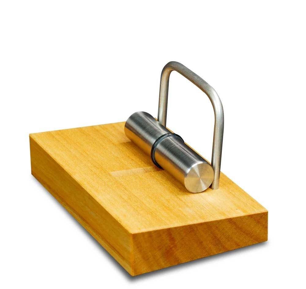 Visitenkartenhalter aus Holz | Maß e 10 x 6,2 x 5,4 cm | Visitenkartenstä nder aus Kirschholz und Edelstahl, magnetisch Steinhöringer Werkstätten