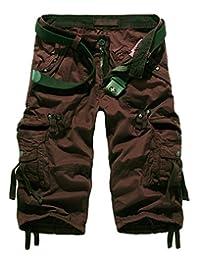 Men's Cotton Slim Fit Multi Pocket Cargo Shorts