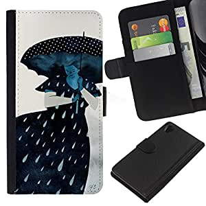 KingStore / Leather Etui en cuir / Sony Xperia Z2 D6502 / Lluvia Triste Dama Gris Mujer