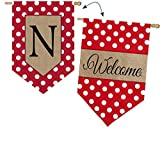 Evergreen Burlap Polka-Dot Welcome Monogram N House Flag, 28 x 44 inches Review