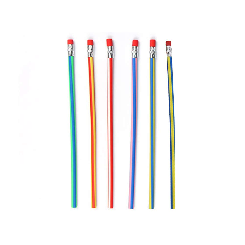 CHoppyWAVE Toys for Boys Girl Toddler/£/¬ 6Pcs Bendy Flexible Soft Pencil with Eraser Colorful Student School Stationary Random Color