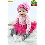 """Reborn Baby Doll Girl Realistic Silicone Vinyl 22"""" Weighted Body big eyes Real Life Rose Red Outfit Pink cute doll Gift Set for Ages 3+"""