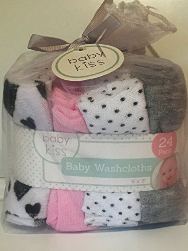Baby Kiss Washcloth Set 3 | 24 Washcloths Assorted Styles/Colors by Baby Kiss