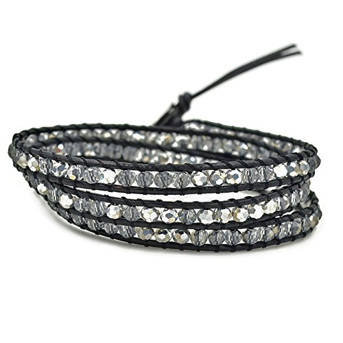 MO SI YI Multi-layer Braided Leather Wrap Bracelet with Sparkly Faceted Crystal Beads (3 Wrap Clear)