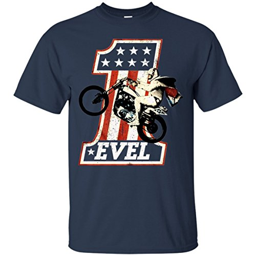 American Classics Evel Knievel Iconic Daredevil One Evel2 Retro Royal Heather Adult T-Shirt Tee_Vectorized (Navy;XL) (Evel Knievel Shirt)