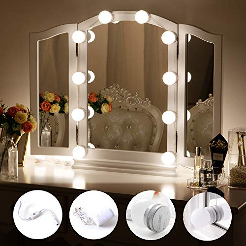 Chende Hollywood Style LED Vanity Mirror Lights Kit with Dimmable Light Bulbs, Lighting Fixture Strip for Makeup Vanity Table Set in Dressing Room (Mirror Not Include) by Chende (Image #1)