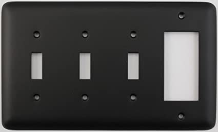 Classic Accents Rounded Black 4 Gang Combo Switch Plate - 3 Toggle ...
