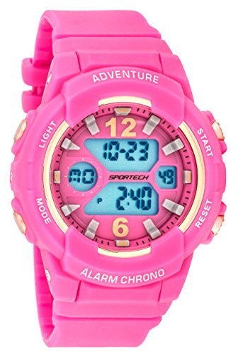 Women's Watches by Sportech - Pink and Mettallic Rose Gold Active Digital Sport Watch - Make Every Second Count - SP12505