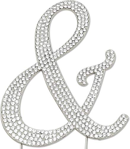 Sparkly Rhinestones Ampersand Cake Topper, Birthday Wedding Anniversary Silver & -