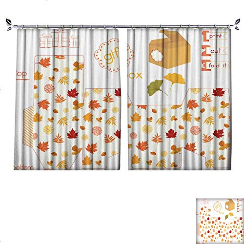 DragonBuildingMaterials Blackout Draperies for Bedroom Printable Gift Box with Colorful Autumn Leaves W55 x L63 ()