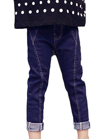 Vaqueros Ajustados Niñas Azul Vaqueros Denim Jeans Casual ...