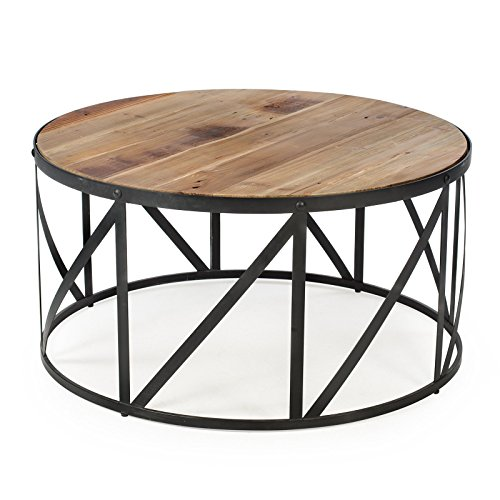 Reclaimed Wood Industrial Round Coffee Table: Amazon.com: Rustic Industrial Modern Farmhouse Natural
