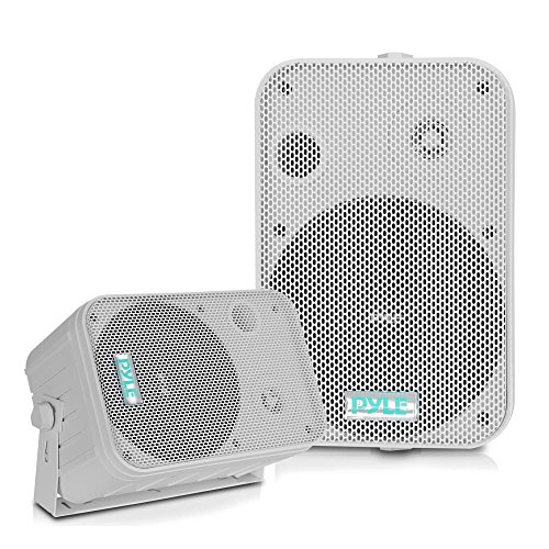 Dual Waterproof Outdoor Speaker System - 6.5 Inch Pair of Weatherproof Wall/Ceiling Mounted Speakers w/Heavy Duty Grill, Universal Mount - For Use in the Pool, Patio, Indoor - Pyle PDWR50W (White) by Pyle