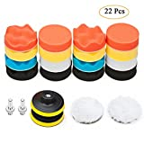 "Car Polishing Pad Kit, Leegoal 22PCS x 3"" Sponge Polishing Waxing Buffing Pads Kit Foam Polish Pad Set for Car with Thread Drill Adapter"
