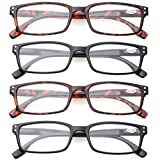 Reading Glasses 4 Pack Spring Hinge Comfort Readers Plastic, Black, Size Medium