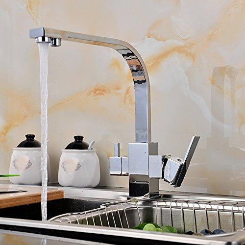 NewBorn Faucet Küche oder Badezimmer Waschbecken Mischbatterie Wasserhahn im Waschbecken Armaturen Drei mit Reinem Wasser Leitungswasser Chrom Schlüssel Passt Nicht in die Normalen Wassereinlassrohr