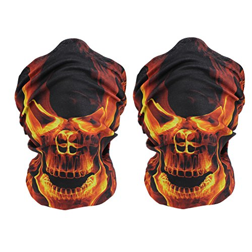 [KapscoMoto Skull Masks Motorcycle Riding Tube Face Mask Multifunctional Outdoor Masks Bandana Beanie Scarf Headband Muffler - Multifunctional,Seamless,Tublar,Thin, 2PCS (Yellow Flame] (Flame Hair Costume)