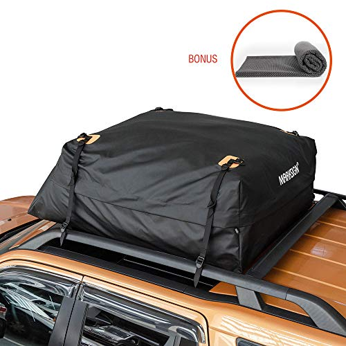 - 100% Waterproof Car Rooftop Cargo Carrier Bag, 17.5 cu ft, Waterproof Zipper and Rain Flap, Nylon UV Proof Straps Fits Vehicles with Side Rails or Cross Bars, Aerodynamic Design, Cargo Mat Included