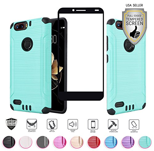 ZTE Blade Z MAX Case (MetroPCS Version Only Z982), with Full Edged Tempered Glass Screen Protector, Heavy Duty Metallic Brushed Slim Hybrid Shock Proof Armor Defender Case (Teal/Black)