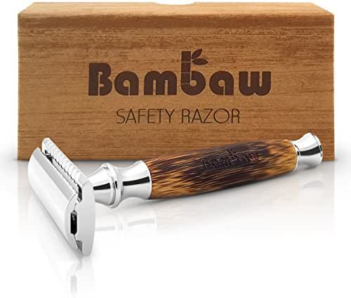 Double Edge Safety Razor with Long Natural Bamboo Handle | Safety Razor Wood | Eco Friendly | For Men or For Women | Sustainable and Durable | Saftey Razor | Bambaw