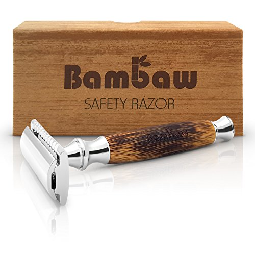 Double Edge Safety Razor with Long Natural Bamboo Handle | Safety Razor Wood | Eco Friendly | For Men or For Women | Sustainable and Durable | Saftey Razor | Bambaw ()