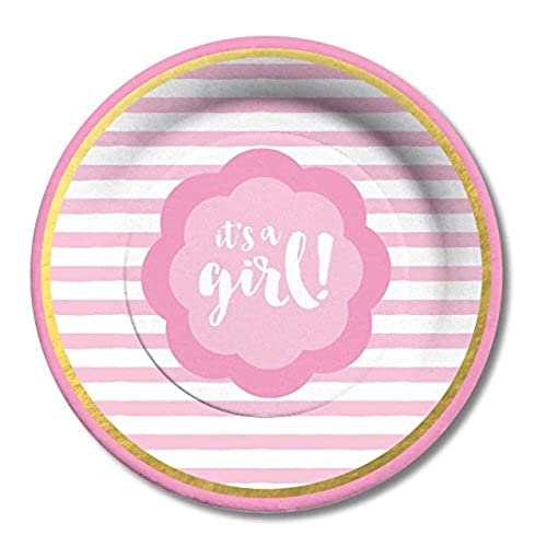 C.R. Gibson Decorative Paper Lunch/Dessert Plates Easy Clean Up Measures 8\  - It\u0027s a Girl8 Count  sc 1 st  Amazon.com & Pink and Gold Paper Plates: Amazon.com