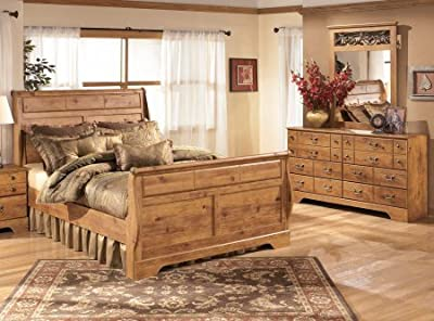 Ashley Bittersweet 3-Piece Bedroom Set with Queen Size Sleigh Bed Dresser and Mirror in Light