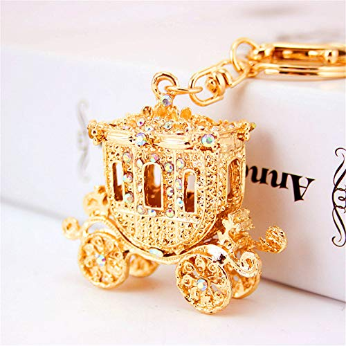 JewelBeauty 3D Handmade Bling Crystal Cute Keychain Rhinestone Keyring Selection Car Bag Pendant (Gold Pumpkin Carriage)