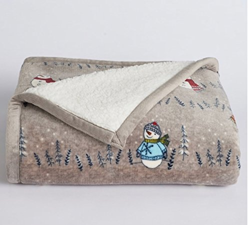 Sherpa Fleece Plush Throw Snowman