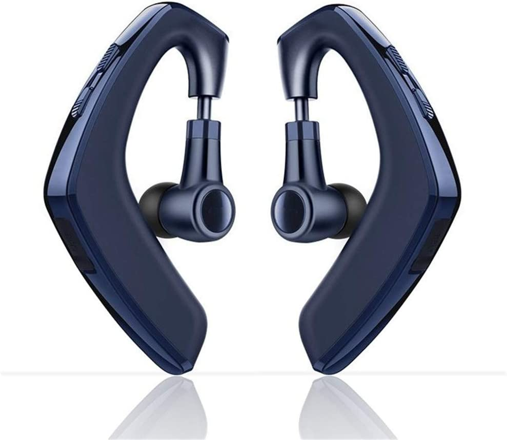 SLUB [Plus] Bluetooth 5.0 Headphones with Mic for Cell Phone True Wireless Waterproof IPX7 Earhook Lightweight 12H Playtime Invisible Earbuds for iPhone/Android (Blue)