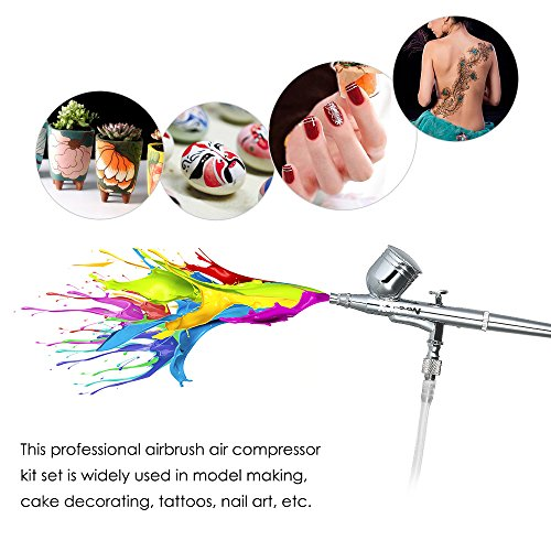 KKmoon KKmoon Multi-purpose Dual Action Airbrush Mini Air Compressor Set Gravity Feed Air Brush Kit for Art Painting Tattoo Manicure Craft Cake Spray Model Air Brush Nail Tool Set 100-250V by KKmoon (Image #9)