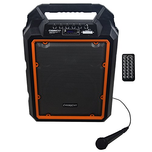 - ChromaCast Portable 2 Channel 2 Way 80 watt Rechargeable Bluetooth PA Speaker w/ Microphone