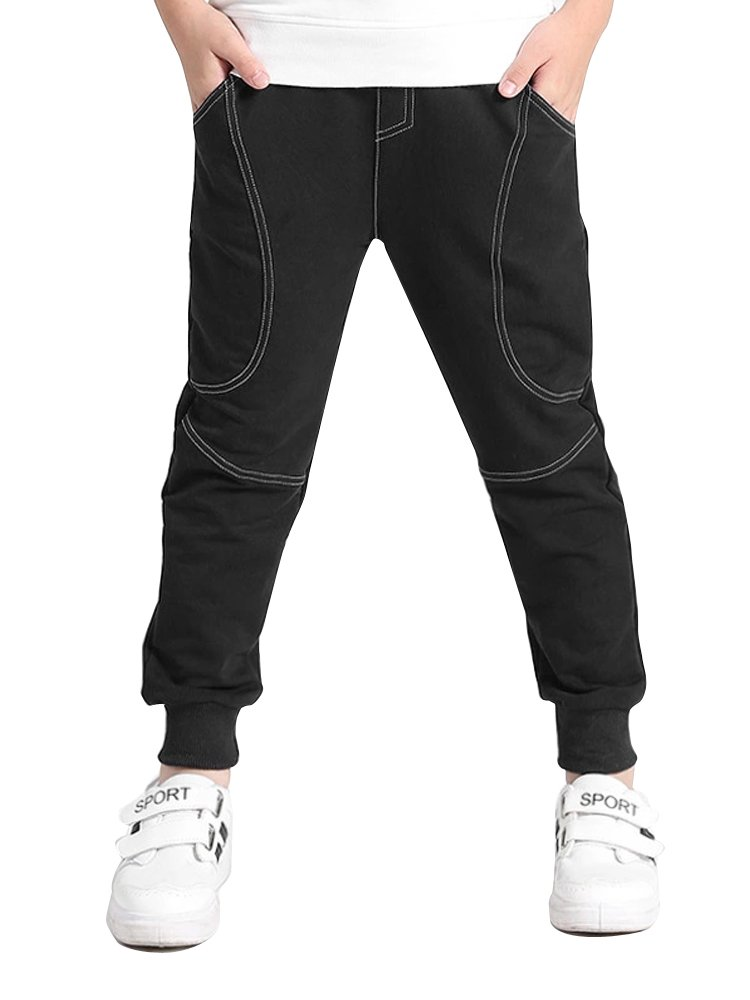 Mesinsefra Boys' Cotton Pants Regular Fit Athletic Pants For Boys and Youth Black 160cm