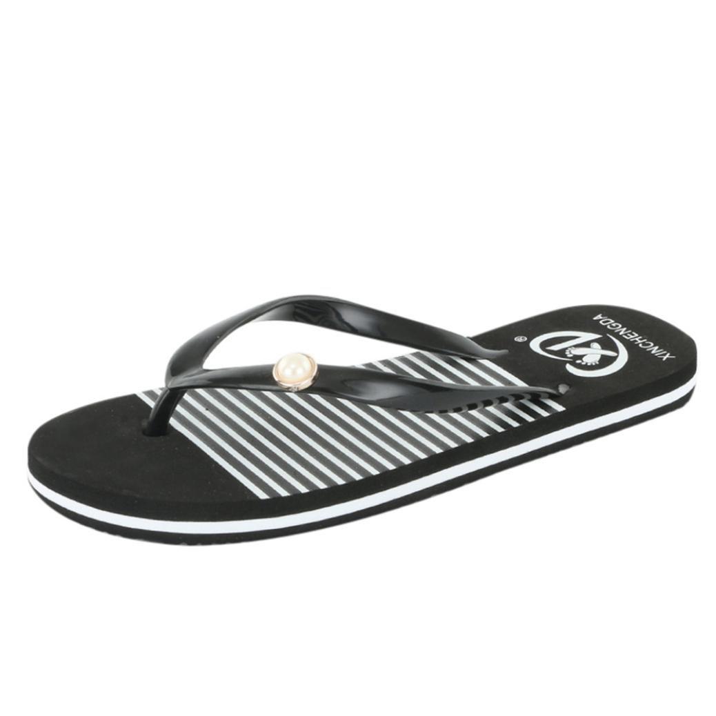 Flip Flops Women,Internet Sandalen Damen Flach Damen-Mauml;dchen-Herren Flip Flop Summer Beach Pool Schuhe Sandalen Zehentrenner Rutschfest und Weich  37 EU|Schwarz