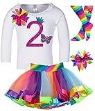 Bubblegum Divas Little Girls 2nd Birthday Butterfly Shirt Rainbow Tutu Socks Hair Bow 4pc Outfit 24mos