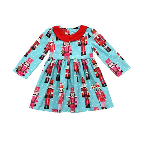 GBSELL Kids Toddler Baby Girls Deer Striped Christmas Outfits Clothes Dress Fall Winter
