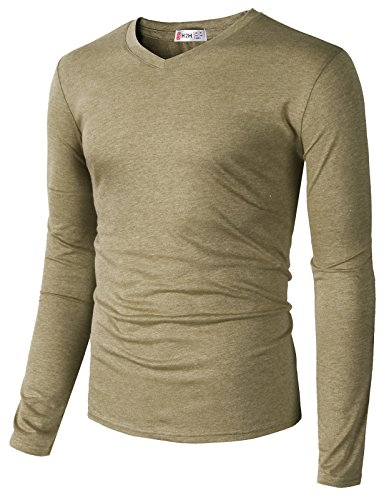 H2H Mens Casual Premium Soft Spandex Cotton Long Sleeve V-Neck T-Shirts HEATHERBEIGE US S/Asia M - Long Vest Wool Sleeve