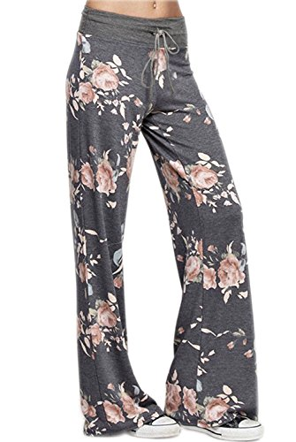 Vest Wide Leg Pants - EIFFTER Women's High Waist Casual Pajama Pants Floral Print Drawstring Palazzo Lounge Pants Wide Leg (Large, Dark Grey)