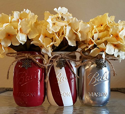 Christmas and Holidays Silver, Candy Cane Stripe and Red Mason Jars